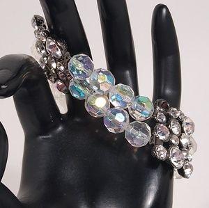 Bracelet Wide Iridescent Rhinestone Beaded